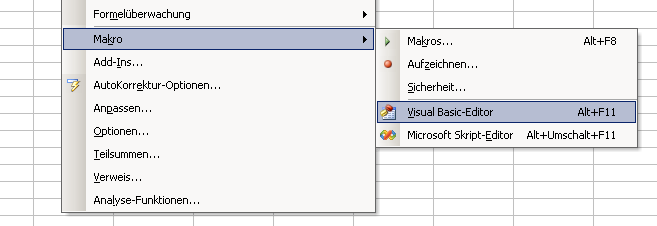 Creating a new VBA project for Windows using Excel
