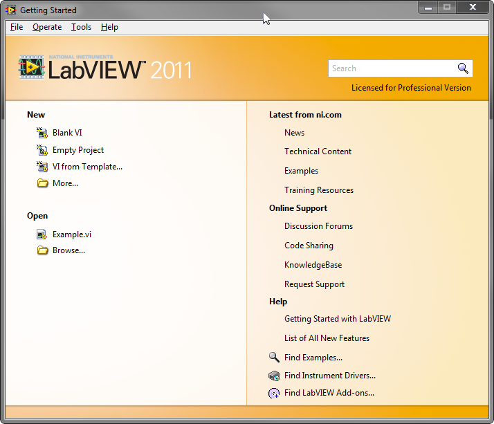 Creating a new LabVIEW project